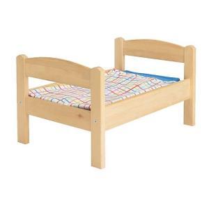 IKEA・イケア おもちゃ DUKTIG 人形用ベッド ベッドリネンセット付き, パイン材, マルチカラー(201.678.38)