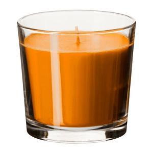 IKEA・イケア キャンドル・ろうそく SINNLIG 香り付きキャンドル グラス入り, サンシャインオレンジ, オレンジ, 9 cm (202.515.49)|moblife
