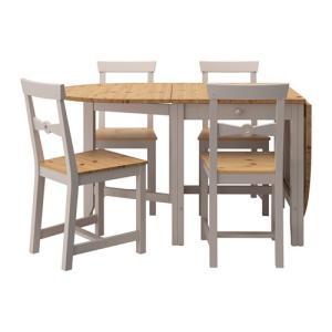 ダイニングテーブルセット IKEA・イケア ダイニングGAMLEBY テーブル&チェア4脚, ライトアンティークステイン, グレー(290.072.18)|moblife