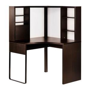 IKEA・イケア パソコンデスク・勉強机・子供机・学習机 MICKE(ミッケ) コーナーワークステーション, ブラックブラウン  (303.542.74)|moblife