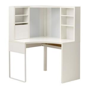 IKEA・イケア パソコンデスク・勉強机・子供机・学習机 MICKE(ミッケ) コーナーワークステーション, ホワイト  (203.542.84)|moblife