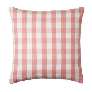 IKEA・イケア クッション SMANATE クッションカバー, ホワイト, ピンク(302.620.81)|moblife