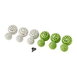 IKEA・イケア 照明・ランプ SOLVINDEN ライトチェーン用デコレーション, ボール ホワイト, グリーン (303.020.20)|moblife