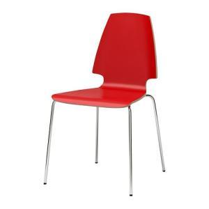 IKEA・イケア 椅子 チェア・ダイニングチェア VILMAR チェア, レッド, クロムメッキ (398.897.47) moblife