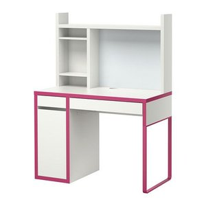 IKEA・イケア パソコンデスク・勉強机・子供机・学習机 MICKE(ミッケ) ワークステーション, ホワイト,ピンク  (490.001.12)|moblife