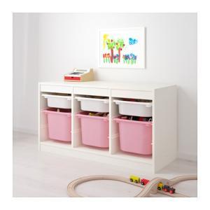 IKEA・イケア おもちゃ箱・子供収納 TROFAST(トロファスト) 収納コンビネーション, ホワイト, ピンク (492.224.10)