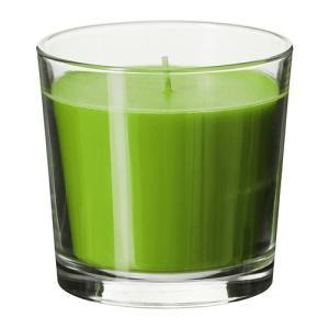 IKEA・イケア キャンドル・ろうそく  SINNLIG 香り付きキャンドル グラス入り, フレッシュアップル, グリーン, 9 cm (502.510.86)|moblife
