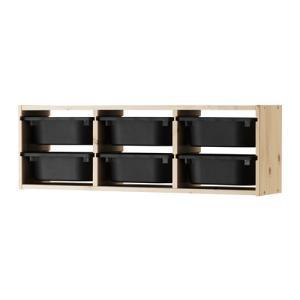 IKEA・イケア おもちゃ箱・子供収納 TROFAST(トロファスト) ウォール収納, パイン材, ブラック (591.023.51)