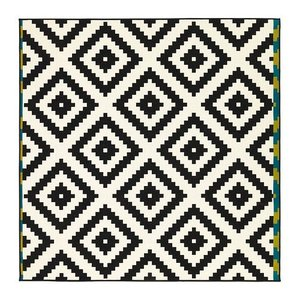 IKEA・イケア ラグ・リビングルーム LAPPLJUNG RUTA ラグ パイル短, ホワイト, ブラック, 200x200 cm (602.279.01)|moblife
