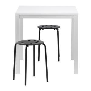 IKEA・イケア ダイニングテーブル・チェア MELLTORP / MARIUSテーブル&スツール2脚, ホワイト, ブラック(690.117.65)|moblife