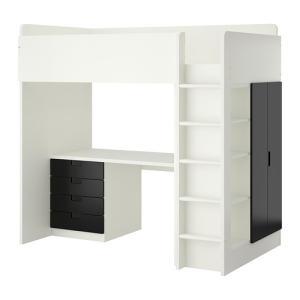 イケア IKEA ロフトベッド ベッド STUVA ロフトベッドフレーム デスク&収納付き(引き出し×4/扉×2), ホワイト, ブラック (892.273.16)|moblife