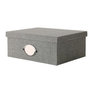 IKEA・イケア 収納ボックス・収納ケース KVARNVIK  ふた付きボックス, グレー (702.566.72)|moblife