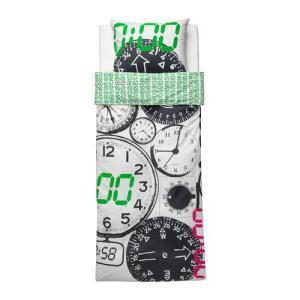 【IKEA/イケア/通販】「キッズ・ベットリネン」 TITTAPA 掛け布団カバー&枕カバー, ホワイト, ブラック, 150x200/50x60 cm (702.726.29)|moblife