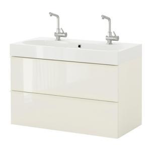 【IKEA/イケア/通販】「バスルーム・洗面台」 GODMORGON / BRAVIKEN 洗面台(引き出し×2), ハイグロス ホワイト, 100x49x68 cm (790.062.35) moblife