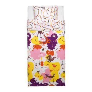 【IKEA/イケア/通販】「キッズ・ベットリネン」 SANGFAGEL 掛け布団カバー&枕カバー, ピンク, 150x200/50x60 cm (802.345.28)|moblife