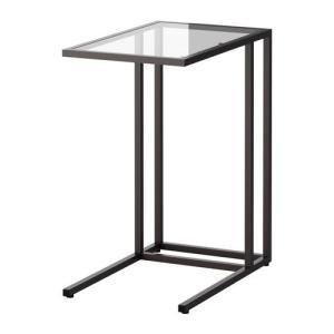 IKEA・イケア リビング・テーブル VITTSJO  ラップトップスタンド, ブラックブラウン, ガラス, 35x65 cm (802.502.50)|moblife