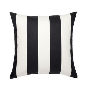 IKEA・イケア クッション VARGYLLEN クッションカバー, ホワイト, ブラック (802.620.26)|moblife
