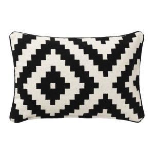 IKEA・イケア クッション  LAPPLJUNG RUTA クッションカバー, ホワイト/ブラック(802.818.93)|moblife