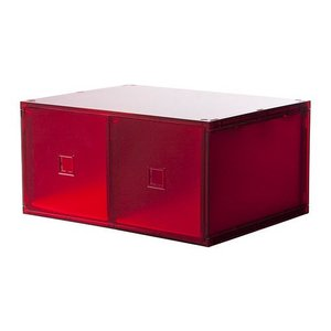 IKEA・イケア 収納ボックス・収納ケース LEKMAN ミニチェスト(引き出し×2), レッド, 33x25 cm (902.453.38)|moblife