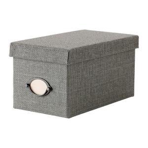 IKEA・イケア 収納ボックス・収納ケース KVARNVIK   ふた付きボックス, グレー (902.566.66)|moblife