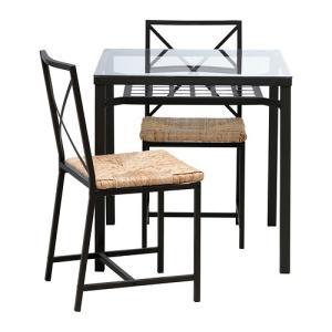 IKEA・イケア ダイニングテーブル・チェア GRAN〓Sテーブル&チェア2脚, ブラック, ガラス(902.720.58)|moblife