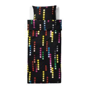 【IKEA/イケア/通販】「キッズ・ベットリネン」 SUDDIG 掛け布団カバー&枕カバー, ブラック, 150x200/50x60 cm (902.732.13)|moblife