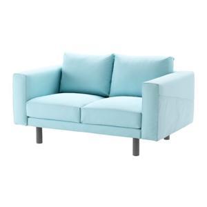 2人掛けソファ IKEA・イケア ソファ NORSBORG 2人掛けソファ, エードゥム ライトブルー, グレー (991.248.41) moblife