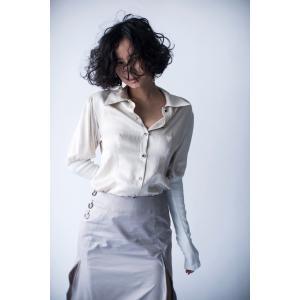 hs20SSIR07  デザインシャツ シルク ホワイト ヒュリス|mocosh