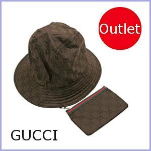 グッチ GUCCI ハット 帽子 レディース ポーチ付き 茶/ブラウン 233940 サイズM アウトレット model