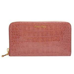miumiu ミュウミュウ 財布 サイフ さいふ MIUMIU 財布 長財布 ラウンドファスナー アンティークピンク  5M0506|model|02