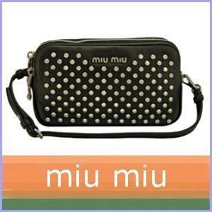 ミュウミュウ miumiu ポーチ クラッチバッグ シルバースタッズ 黒/ブラック 5ARH02|model