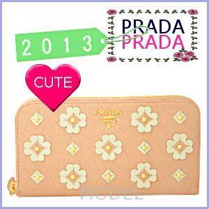 プラダ PRADA 財布 サイフ さいふ 新作 2013 ピンク 長財布 フラワー 財布 PRADA 財布 1M0506|model