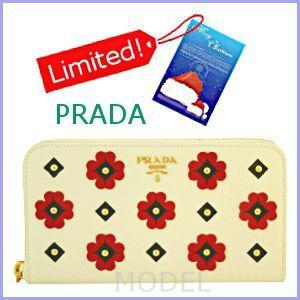 プラダ PRADA 財布 新作 2012 クリスマス フラワー 長財布 ラウンドファスナー 白 1M0506|model