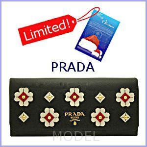 プラダ PRADA 財布 新作 2012 クリスマス フラワー 長財布 黒 1M1132|model