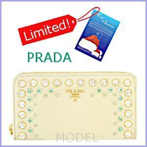 プラダ PRADA 財布 新作 2012 クリスマス クリスタルビジュー 長財布 ラウンドファスナー 白 1M0506|model