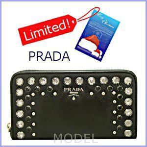 プラダ PRADA 財布 新作 2012 クリスマス クリスタルビジュー 長財布 ラウンドファスナー 黒 1M0506|model