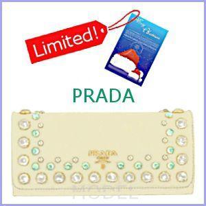 プラダ PRADA 財布 新作 2012 クリスマス クリスタルビジュー 長財布 白 1M1132|model
