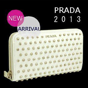 PRADA 財布 プラダ 財布 新作 2013 ラウンドファスナー スタッズ 白 1M0506|model