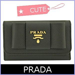プラダ PRADA キーケース リボン 黒 ブラック 1PG222|model