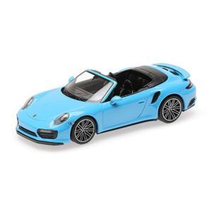 MINI CHAMPS 1/43 (410 067182) PORSCHE 911 (991.2) TURBO S CABRIOLET 2017 BLUE modelcarshop-ss43