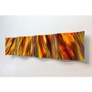 送料無料!! インテリアアート Amber Vortex Wave  (インテリアパネル モダン彫刻アート メタル抽象 オフィスデコ 北欧 カフェ cafe)