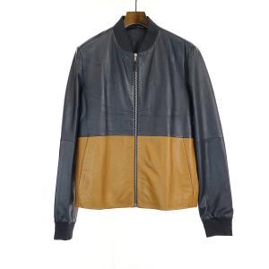 Dior HOMME ディオールオム 16SS バイカラーレザージャケット ブルゾン ネイビー×ブラウン 46 メンズ|modescape-ys