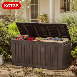 先行予約 ケター コンフィーガーデンボックス(Keter Comfy Garden Box) 大型宅配便 収納ボックス ウッド調 屋外収納 大型収納ケース 物置