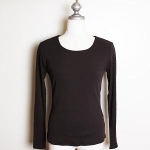 綿 ガーゼ 長袖Tシャツ クルーネック 丸襟 さらさら スーツイン ジャケットイン コットン 大人 modiste|modisteclub