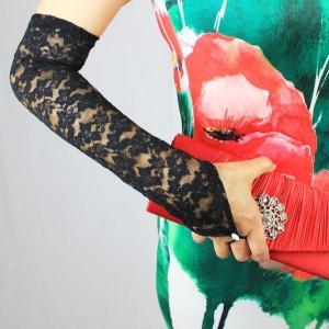 レースロンググローブ ブラック フィンガーレス手袋 定形外郵便選択で、送料無料|modisteclub