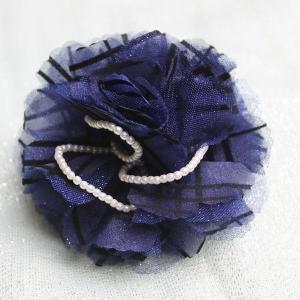 コサージュ紺色 パール飾り ピン&クリップ付 定形外郵便選択で、送料無料|modisteclub