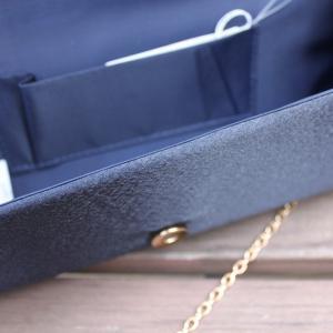 結婚式 パール クラッチバッグ 紺 サテン ネイビー 二次会|modisteclub|05
