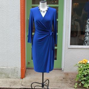 ラップドレス Anne Klein Sサイズ 無地 ブルー ジャージワンピース 大人 インポート レディース|modisteclub