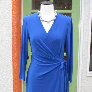 ラップドレス Anne Klein Sサイズ 無地 ブルー ジャージワンピース 大人 インポート レディース modisteclub 04