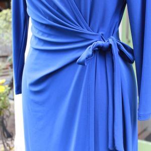 ラップドレス Anne Klein Sサイズ 無地 ブルー ジャージワンピース 大人 インポート レディース modisteclub 05